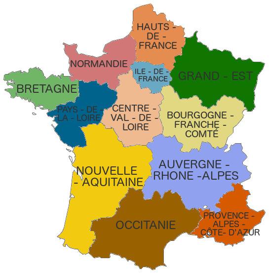 carte des nouvelles regions Nouvelles régions France   Dépannage photovoltaique